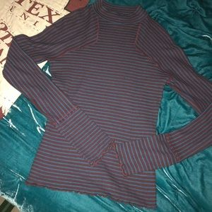 Free People Ribbed Mock Neck Striped Top Size XS